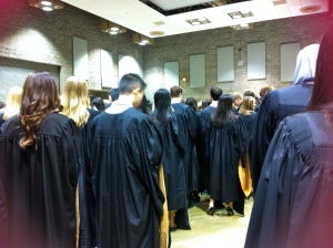 We all shnazzy in our blue and gold robes