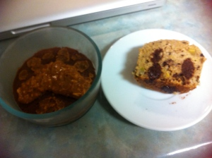 Puddin with my new Brownie Chunk Plantain protein muffin