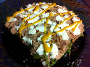 Close up of that goat cheese tuna melt thing.