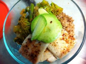 Haddock, bulgar, broccoli-asparagus-curry-chili sautee and avocado