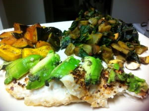 Steak spiced Basa, greens saute and roasted kabocha and hubbert squash