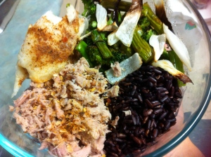 Leg day dinner of tuna, baked white fish, roasted green veggies and onion, black rice