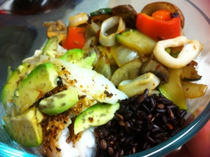Baked spicy basa topped with avocado. Black rice. Sautee of chili flakes, red peppers, zucchini, onion, mushroom and calamari