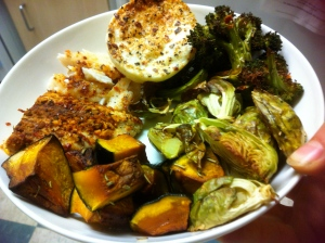 roasted brussels, kabocha, broccoli, egg white cup (nuked with Ms. Dash extra spicy) and leftover chicken