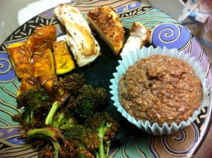 Leftover mahi mahi and grilled spicy chicken, roasted broccoli and kabocha squash and one of my Candyfit muffins.