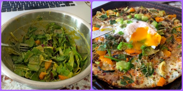 My lunch eaten around 12:30 before I had to head into work. Salad + pizza omlete that contained all the grilled veggies, grilled squash, lobster (spoiled yes ;-)) and dat runny yolk! Seasoned with Mrs. Dash chipotle seasoning and chili flakes.
