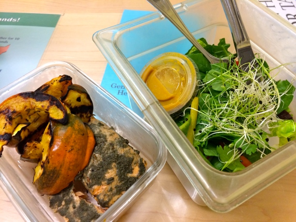 My Dinner at work. Grilled acorn squash and arctic char with my homemade pesto. Side of salad in an insert made at work (because who preps a salad when they work in a kitchen?) and a lil throw together dressing.