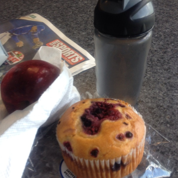Dad's second break snackie which I believe is early afternoon (he works 10 hour shifts). Another piece of fruit (nectarine in this case) and a bought muffin. Normally he has melba toast with cheese but we didn't have any of his toasties. Damnit who did groceries this week...oh wait that's me... Also take note how he is showing you how much water he drinks!